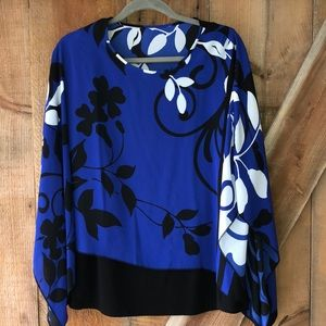 Blue and black batwing floral blouse plus size